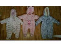 Set of 3 Baby Girl Snowsuits Sizes: Up to a Month, 3-6 Months and 6-9 Months