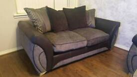 2 seater and 3 seater black and grey sofa
