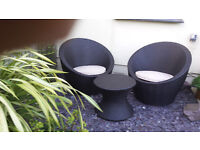 Brand New & Still Boxed Rattan effect Egg Shape 2 Seat Set & Small Round Table