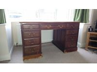 OLD TWIN PEDESTAL PARTNER DESK LEATHER WRITING SURFACE
