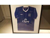 framed fully signed everton shirt