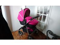 PIONEER PRAM AND PUSHCHAIR- FUCSIA PINK COLOUR