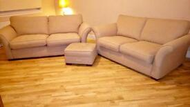 Sofa (3 seater, 2 seater + footstool) by DFS