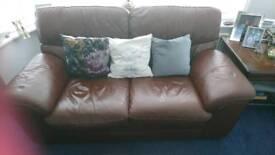 2 x Italian leather sofa's & pouffe.