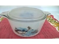 Pyrex casserole with ducks with glass lid