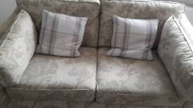 Large 2 seater sofa and chair. Dark wood television cabinet