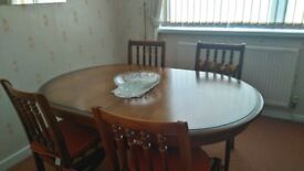MEREDEW DINING TABLE WITH 4 UPHOLSTERED CHAIRS