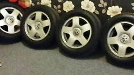 4 x VW 15 inch alloys 5 x 100 pcd good tread