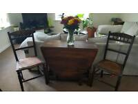 Antique folding table and chairs. Rustic solid pine