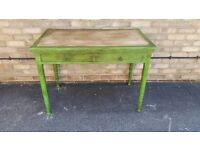 DESK RUSTIC FARMHOUSE GREEN PAINTED SOLID WOOD TWO DRAWERS
