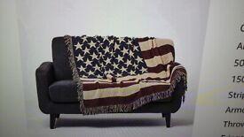 Usa stars and stripes jacquard sofa /armchair throw
