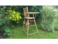 Old Rustic Vintage Foldable High Chair in Very Good Condition on Wheels