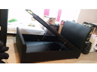 Double bed leather storage in black ( brand new )
