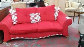 Red sofa with chair