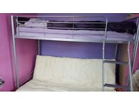 Double bunk bed with a pink wardrobe