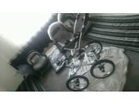 Vib 3 in 1 grey leatherette pram buggy stroller