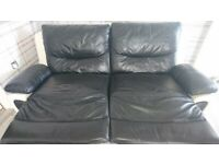 2x 3 leather settee recliner sofas