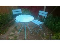 Aqua blue garden table and chairs set