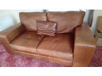 Indigo Furniture 'The Broad Arm' Midi Leather Sofa in Aged Saddle Brown