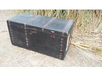 Vintage Victorian Travel Trunk Pine Box.