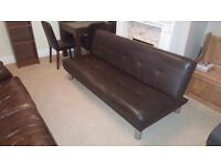 Brown leather effect bed settee