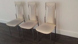 3 leather /chrome dinning chairs