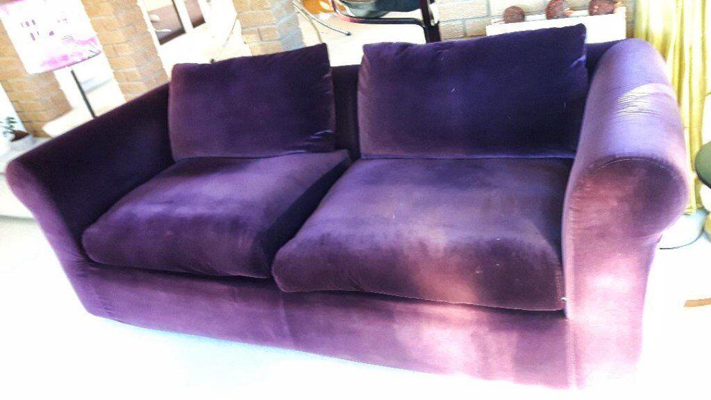 Habitat Louis Purple Velvet 3 Seater Sofa