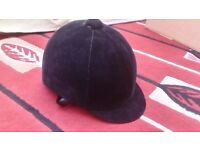 Riding Hat / Helmet with bag Velvet Finish Excellent Condition as Hardly Used 57cm