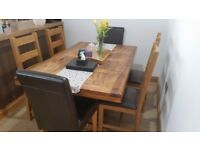Pine Dining Table + 6 Chairs