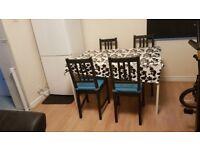 WHITE Dining Table with 4 Black Chairs