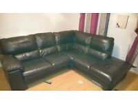 Brown leather corner sofa and electric recliner chair for sale