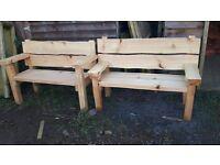 Western red cedar waney edge garden benches 4ft --