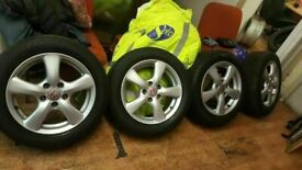 "SET OF MINT 16"" HONDA CIVIC ALLOYS NEW TYRES ALL ROUND QUICK SALE £200"