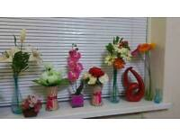 Vases and flowers all £12