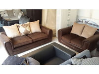 GRADED Brown Leather Look and Fabric 2+3 Seater Sofa Suite Local Delivery