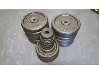 *SOLD* 150kg Cast Iron Weights Set + 2x Barbells, 1x EZ Bar, 4x Dumbells & Pull Up Bar