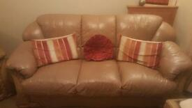 Tan 3 seater and 2 chairs