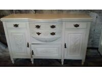 Carved oak sideboard in gray and duck egg painted inside