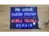 2X , Led Flashing Mobile Phone Unlocking and Mobile Phone Repair Shop Sign