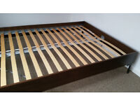 Solid wooden double bed frame brown