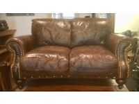Lovely Antique leather two seater and single chair.