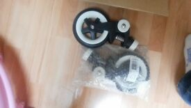 Bugaboo bee plus, bee 3 pair of front swivel wheels complete replacement set.
