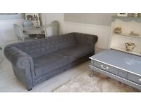 3 seater Chesterfield Fabric Sofa Bed