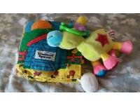 Tommee tippie farm cloth sensory book & little tikes pull horse toy toddler fun