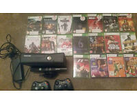 XBOX 360 SLIM 4GB BLACK with Kinect , 2 wireless controllers and 18 games