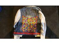 Girls jelly bean denim jacket hoodie 11/12 years