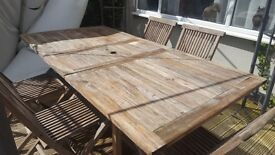 Hardwood garden table and 6 chairs