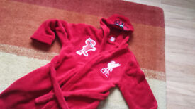 Red liverpool fc logo belted dressing gown - super soft age 9 -10
