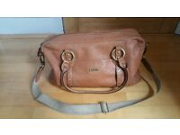 Storksak tan leather changing bag