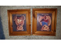 set of 2x pictures for kids room/nursery
